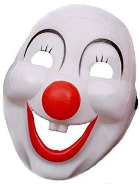 SYGA Clown Joker Plastic Face Mask with Detachable Nose Funny Cute Party Prop Mask , Cartoon, Annual Day, Dance Performance, Film, Fancy Dress Costume Accessory for Adults, Men, Women, Kids- White&Red Party Mask