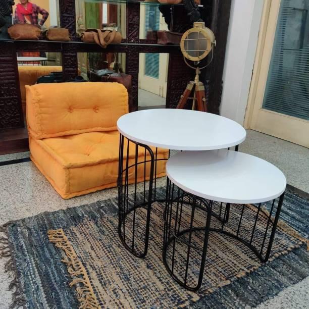PRITI Engineered Wood Admire Coffee Table Nesting Table Set of 2, Black and White Engineered Wood Nesting Table
