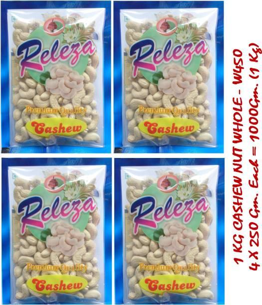 Releza W450 Whole Cashews 1 Kg. (1000 Gm.) Raw Cashew Nuts, Natural Cashews in Dry Fruits, Kaju Kernel (4*250 gm.) Cashews