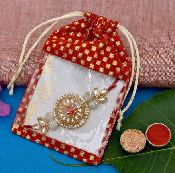 Vibhima Trunkbox Designer Rakhi, Greeting Card, Chawal Roli Pack  Set