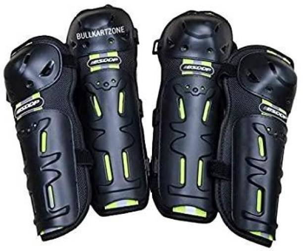 Bullkartzone Breathable Adjustable Knee & Elbow Pads Protection Motorcycle Racing Riding Unisex Knee Guard Armor Protective Gear Knee Guard, Elbow Guard Free Black