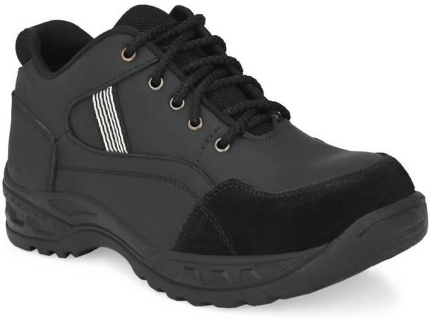 Ozarro Black Genuine Leather Steel Toe Safety Shoe (S4424) Steel Toe Genuine Leather Safety Shoe