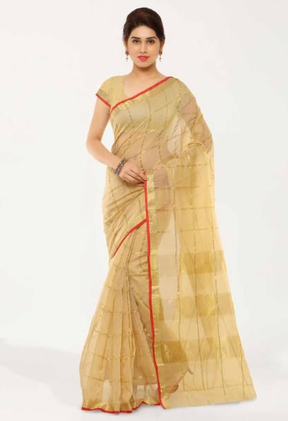 kvsfab Woven, Self Design, Striped Tant Cotton Blend Saree