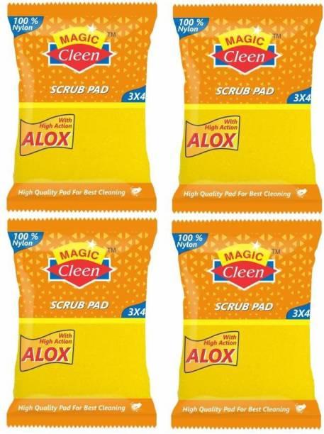 Magic Cleen Nylon Pad With Sponge 3*4 (Pack of 4) Scrub Pad