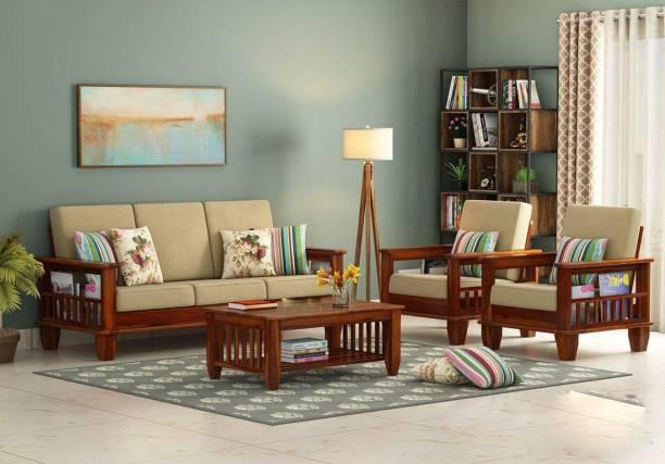 VARSHA ART PLACE Fabric 3 + 1 + 1 Natural Brown Sofa Set