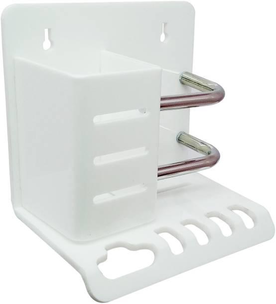 Kaaple High Grade Acrylic Classic Toothbrush Stand With Bottle Holder/Tumbler Holder/Brush & Paste Holder With Bottle Holder (1 Pcs., White) Acrylic Toothbrush Holder