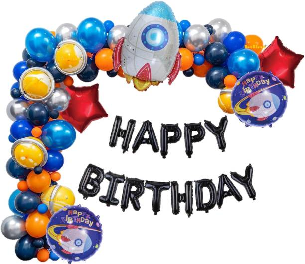 Bash N Splash Solid Black Happy Birthday Party Decoration Space Theme with Blue Black Orange Yellow balloon & chrome marble Balloon with pump(Pack of 120) Letter Balloon