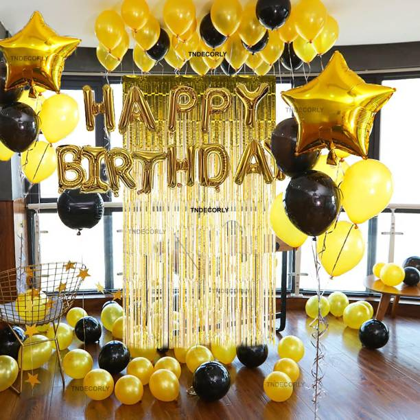 TNDECORLY Solid Happy Birthday Decorations Kit / Items | Birthday Theme Decorations Combo Balloon
