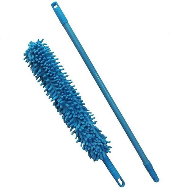 LandVK Cleaning Brush Feather Microfiber Duster with Extendable Rod Dust Cleaner Fit Ceiling Fan Car Home Office Cleaning Tools Microfibre Wet and Dry Broom