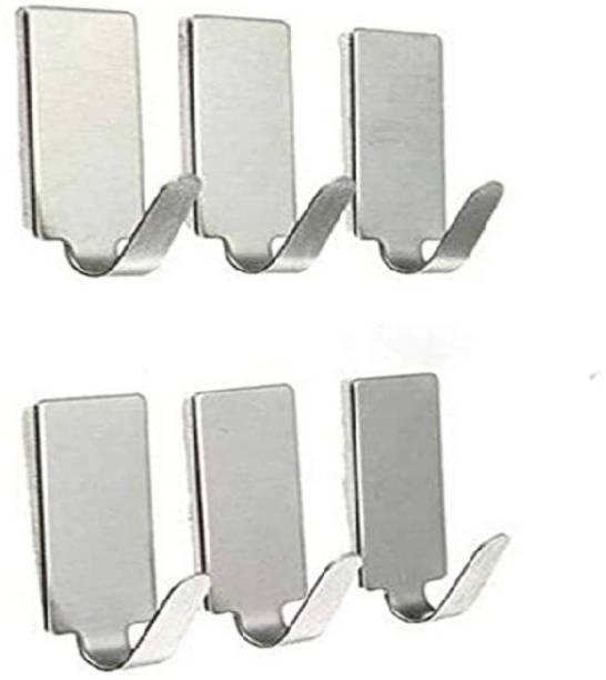 lookat Rectangular Shape Small Stainless Steel Adhesive Hooks Wall Hooks Cloth Hooks - Load Capacity Upto 1.5 KG (Set of 6) Door Hanger