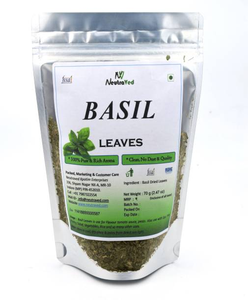 NeutraVed Basil Leaves Perfect for Pasta, Pizza, Italian Salads, Sauces, Risotto, Roasts, Marinades, Dressings, Bruschettas