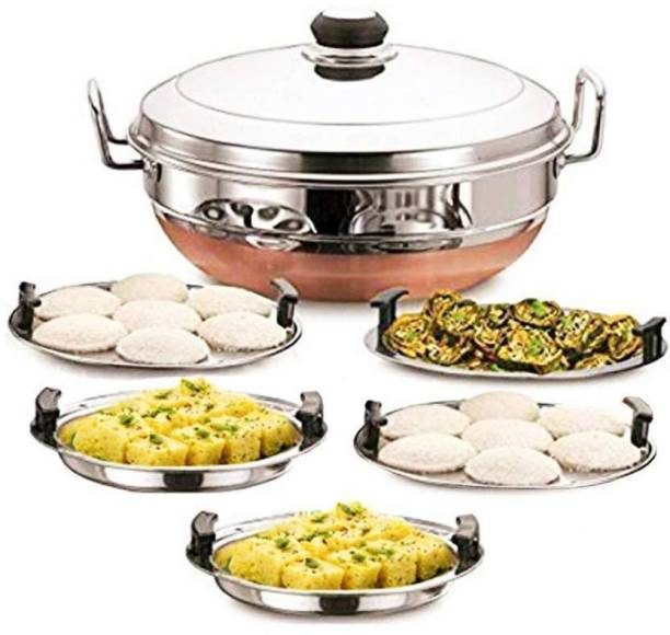 IM ENTERPRISE All-in-One Stainless Steel Idli Cooker Multi Kadai Steamer with Copper Bottom, Big Size with 5Plates 2Idli; 2 Dhokla; 1 Patra Induction & Standard Idli Maker (5 Plates , 14 Idlis ) Standard Idli Maker