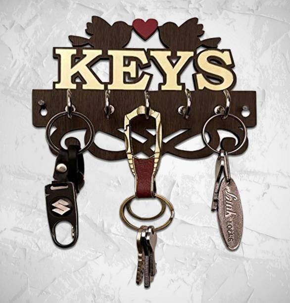 Heritagecrafts Beautiful Designer KEYS Love Bird 10 Inch Wooden 5 Hook Wood, Acrylic Key Holder