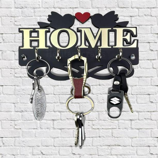 Heritagecrafts Unique Designer Home Love Birds 25 x 25 CM Wooden 5 Hook Wood, Acrylic Key Holder
