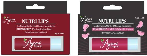 Aysun Combo Pack of Strawberry and Cranberry Balm with Certified Organic Ingredients Cranberry