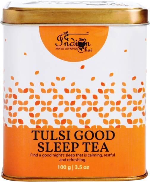 The Indian Chai Tulsi Good Sleep Tea 100g with Chamomile, Ashwagandha, Gotu Kola & Lavender for Good Sleep Herbal Tea Box