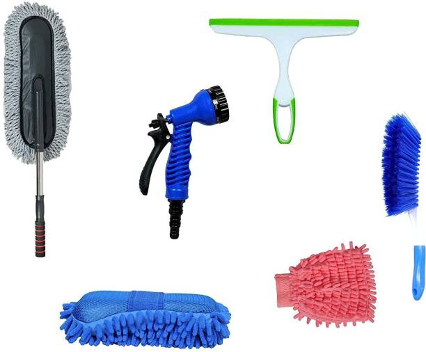 Niklace Car Cleaning Combo kit 6 in 1 Water Spray Gun/ Sponge/ Gloves/ Duster/ Glass Wiper/ Carpet Brush Multipurpose Cleaning Kit for Car, Home & Kitchen (Pack of 6) Combo