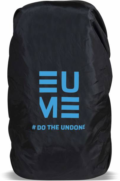 EUME 65 Ltr Polyester Rain and Dust Cover (Black & Blue) Waterproof, Dust Proof Trekking Bag Cover