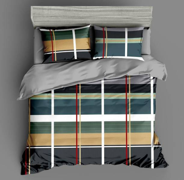Home Elite 200 TC Microfiber Double Checkered Bedsheet