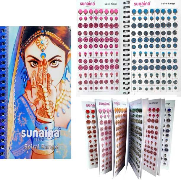 SUNAINA Multicolour Mix Design And Mix Size Full Stone Bindi book for women FOREHEAD Multicolor Bindis