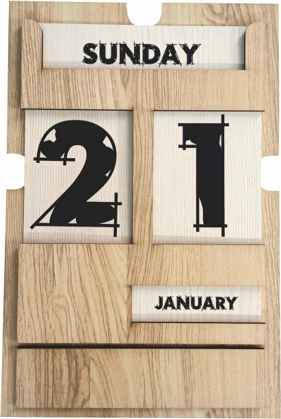 BestCrafts Best Crafts Calendar 2021 Wooden & Craft Material Use, with Wall Hanging Clip, Home Deco and Office Calendar Unlimited Year to You Use 2021 Wall Calendar