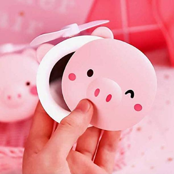 Renyke USB Mini Handheld Small Fan Led Makeup Mirror With Light Mute Rechargeable Portable Pigy Beauty Mirror Ins Cartoon Birthday Gift