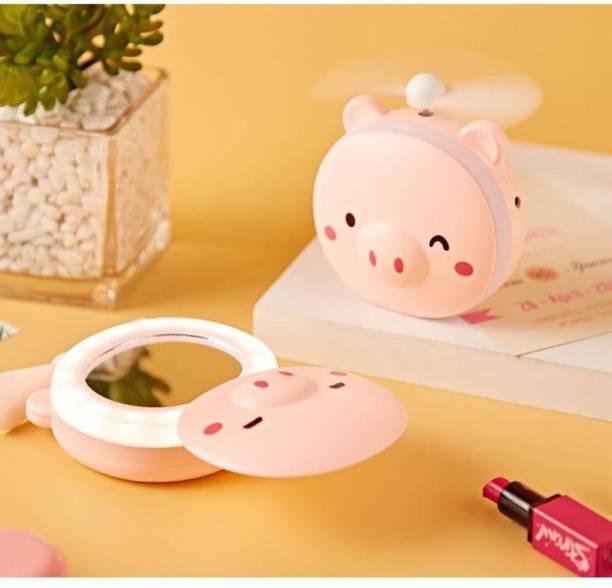 Renyke Cartoon LED Makeup Mirror Light with USB Mini Fan