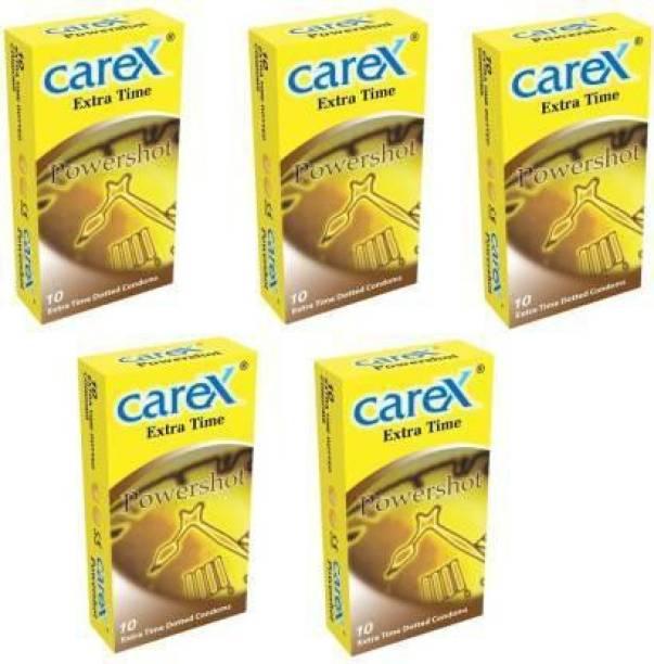CAREX CAREX_EXTRA TIME DOTTED CONDOMS, POWERSHOT CONDOM( PACK OF 5 ) 50 PCS Condom