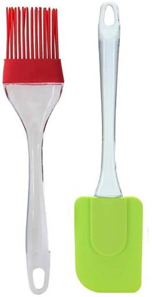 ZURU BUNCH Combo of Silicone Oil Brush and Spatula Set with Handle/Pastry/Cake Brush/Heat Resistant Ghee Brush for non-stick cookware, Mixer, Grilling, Tandoor, Cooking, Baking, Glazing, BBQ in kitchen cooking 2PCS/ Set Silicon Flat Pastry Brush