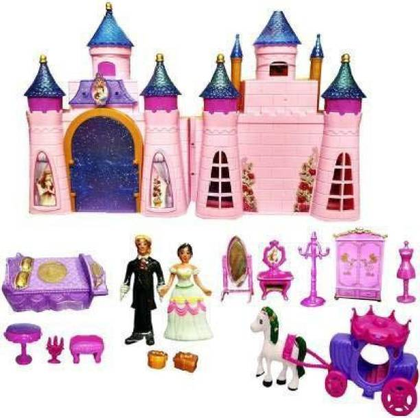 Luxafare Castle Doll House Play Set Toys for Girls, Beauty Princess Dream Home with Dolls
