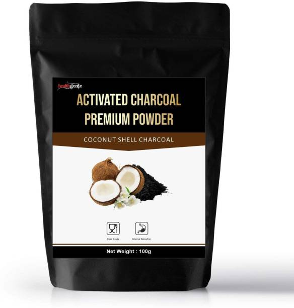 Healthgenie Coconut Activated Charcoal Powder, Skin Cleansing & Detoxifying, Tooth whitening, Improves Digestion, Food Grade