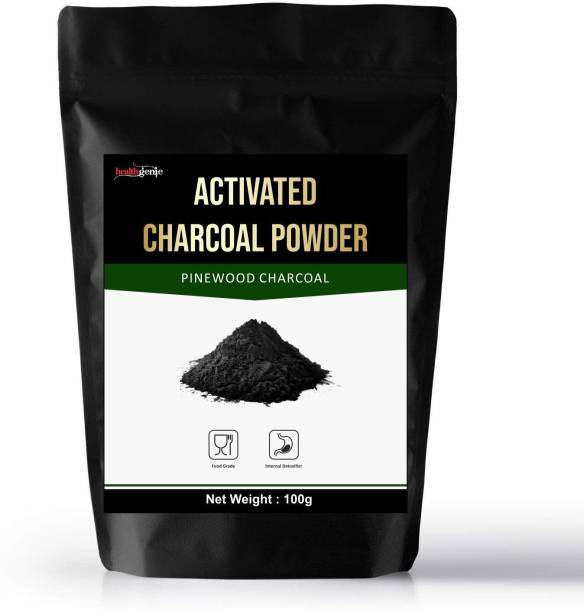 Healthgenie Pinewood Activated Charcoal Powder, Skin Cleansing & Detoxifying, Tooth whitening, Improves Digestion, Food Grade