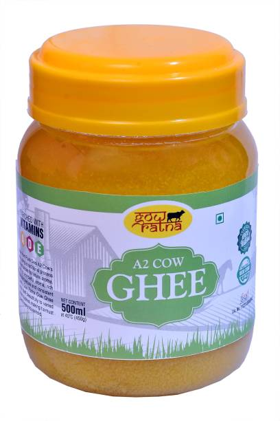 GOW RATNA A2 Desi Cow Ghee, Produced from A2 Desi Cow Milk, Natural and Pure, Premium Plastic Packaging Ghee 500 ml plastic jar Ghee 500 ml Plastic Bottle