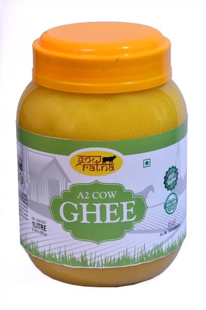GOW RATNA A2 Desi Cow Ghee, Produced from A2 Desi Cow Milk, Natural and Pure, Premium Plastic Packaging Ghee 1000 ml plastic jar Ghee 1000 ml Plastic Bottle
