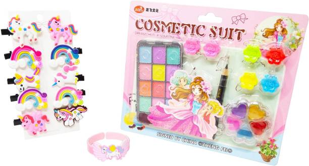 Parteet Combo (Pack of 3 Items) Beauty/Makeup kit/Cosmetic kit,Unicorn Clips and Unicorn Bracelet/Unicorn Combo-Multi Color Hair Clip