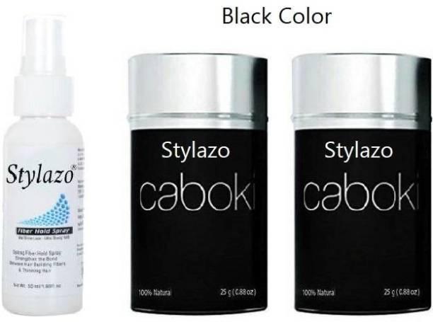 Stylazo Caboki (Combo 2)Black Color Hair Volumizer with 50ml Hold Spray ,Hair Building Fiber ,Hair Loss concealer 1515255 Soft Hair Volumizer Powder