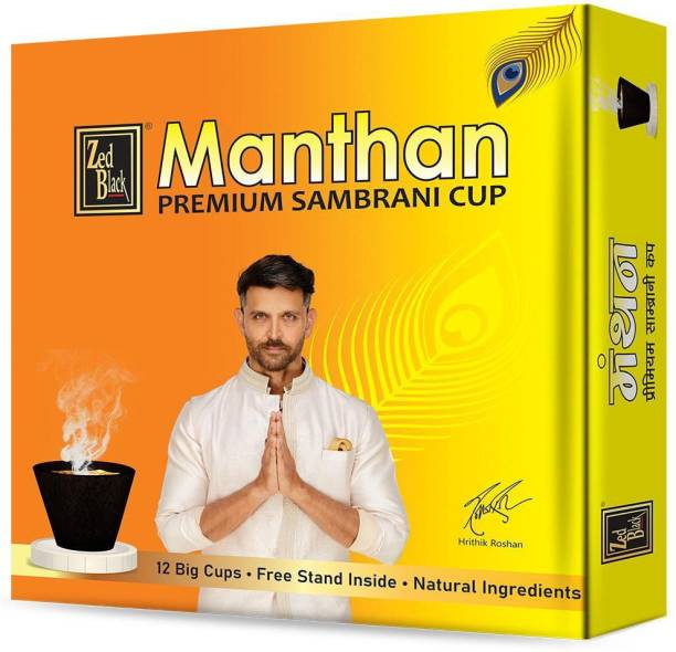 Zed Black Manthan Premium Sambrani-Cup-Box - Long Lasting Pleasing Aroma Cups for Everyday Use - Pack of 3 Sambrani