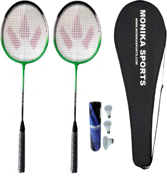 Monika Sports 2000 Combo 2 Pc Single Shaft Racquet with 3 Feather Shuttle & Cover Badminton Kit