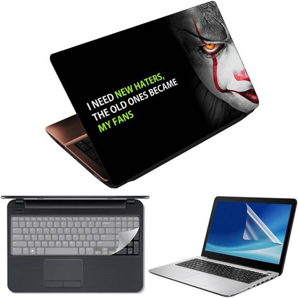 Anweshas 3 in 1 Pack of 15.6 inch Laptop Skin Decal Vinyl, Screen Guard and Silicone Keyboard Protector - Printed Became My Fans Combo Set