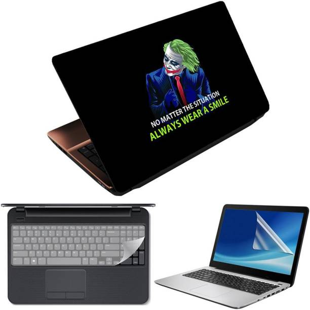 Anweshas 3 in 1 Pack of 15.6 inch Laptop Skin Decal Vinyl, Screen Guard and Silicone Keyboard Protector - Printed Always Wear A Smile Combo Set