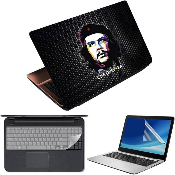 Anweshas 3 in 1 Pack of 15.6 inch Laptop Skin Decal Vinyl, Screen Guard and Silicone Keyboard Protector - Printed Che Guevara Honeycomb- Printed1 Combo Set