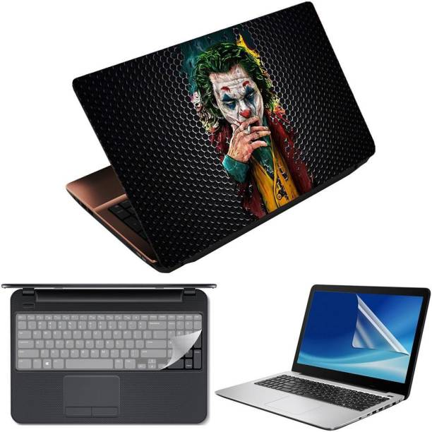 Anweshas 3 in 1 Pack of 15.6 inch Laptop Skin Decal Vinyl, Screen Guard and Silicone Keyboard Protector - Printed Joker Black Circles- Printed2 Combo Set