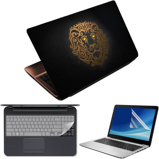 Anweshas 3 in 1 Pack of 15.6 inch Laptop Skin Decal Vinyl, Screen Guard and Silicone Keyboard Protector - Printed Lion Honeycomb- Printed1 Combo Set