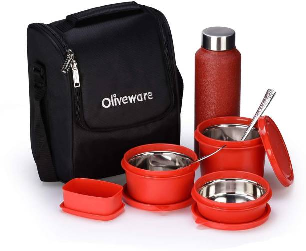 Oliveware Teso Pro Lunch Box | 3 Stainless Steel Containers | Plastic Pickle Box | Steel Spoon & Fork | Insulated Fabric Bag | Leak Proof | Microwave Safe | Full Meal | Easy to Carry | Black 4 Containers Lunch Box