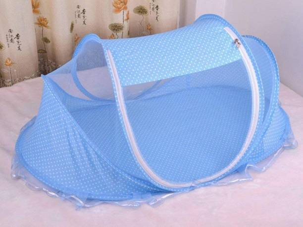 NIDHDHI CREATION Fibre Kids Fibre Infants Little Baby Bed with mosquito net for new born Baby Pillow Polyester Foldable mattress Pink Standard Crib Mosquito Net (BLUE) Mosquito Net