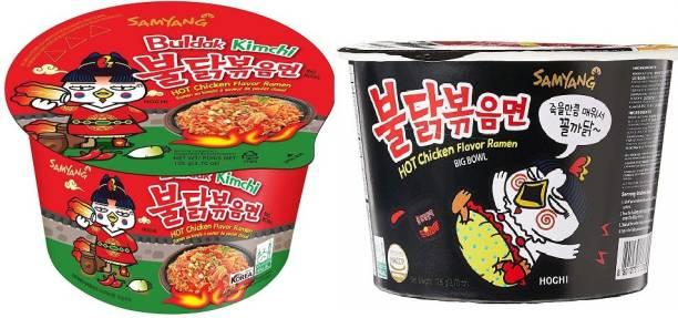 Samyang Big Bowl Stir Fried & Buldak Kimchi Hot Chicken Flavour Raman Cup Noodle, 105mg*2 Pack (Pack of 2) (Imported) Cup Noodles Non-vegetarian
