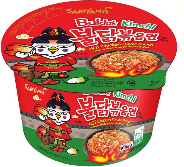Samyang Big Bowl Buldak Kimchi Hot Chicken Flavour Raman Cup Noodle, 105mg*1 Pack (Pack of 1) (Imported) Cup Noodles Non-vegetarian