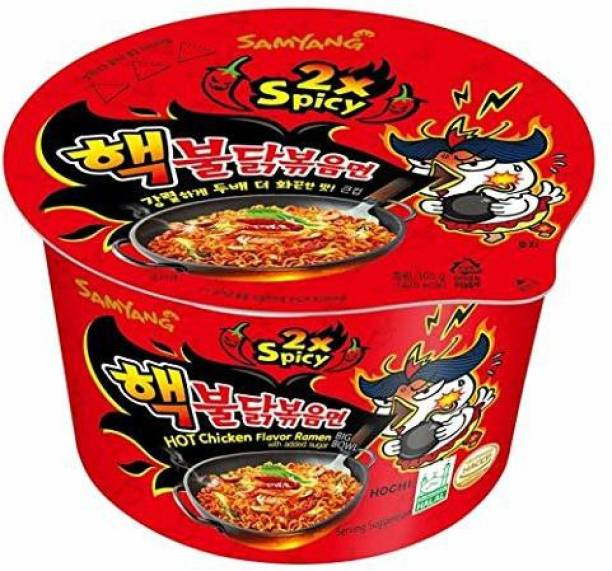 Samyang Big Bowl 2X Spicy Hot Chicken Flavour Raman Cup Noodle, 105mg*1 Pack (Pack of 1) (Imported) Cup Noodles Non-vegetarian