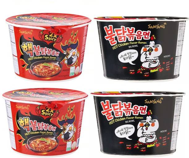Samyang Big Bowl 2X Spicy 2Pack & Stir Fried 2Pack Hot Chicken Flavour Raman Cup Noodle, 105mg*4 Pack (Pack of 4) (Imported) Cup Noodles Non-vegetarian