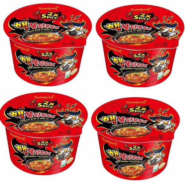 Samyang Big Bowl 2X Spicy Hot Chicken Flavour Raman Cup Noodle, 105mg*4 Pack (Pack of 4) (Imported) Cup Noodles Non-vegetarian